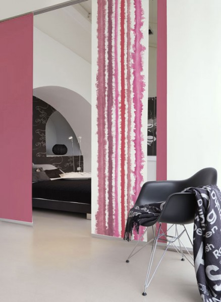 Aquarellstreifen Rot-Pink Schiebevorhang 1-teilig