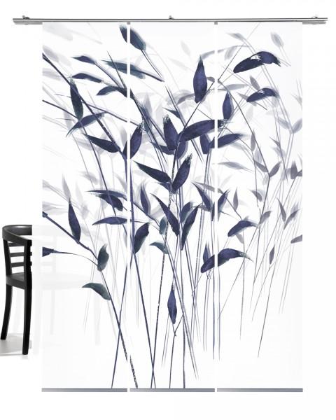 Gras 3D taubenblau Flächenvorhang 3-teiliges Set