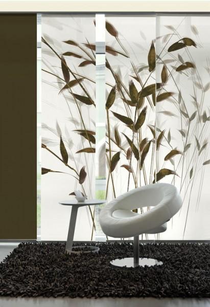 Gras 3D Sepia Schiebegardinen 3-teiliges Set