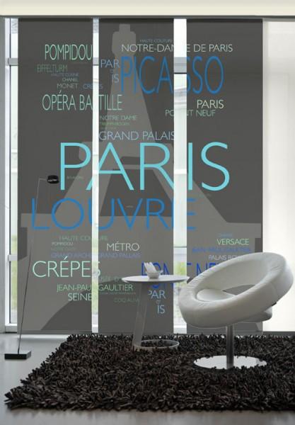 La Tour Eiffel Türkis-Blau Flächenvorhänge 3-teiliges Set