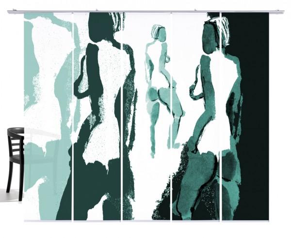Silhouetten Akt mint Flächenvorhang 5-teiliges Set
