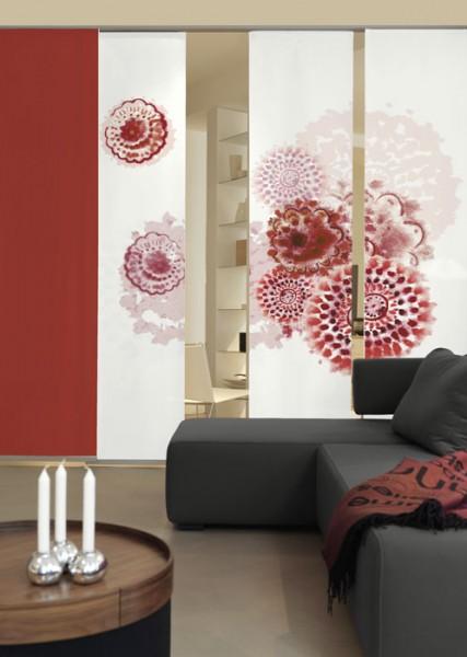 Batikblume Rot Schiebegardinen 3-teiliges Set