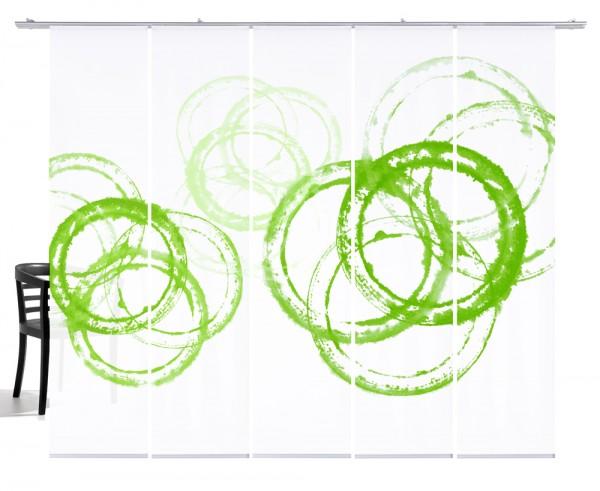 Aquarellkreise grün Flächenvorhang 5-teiliges Set