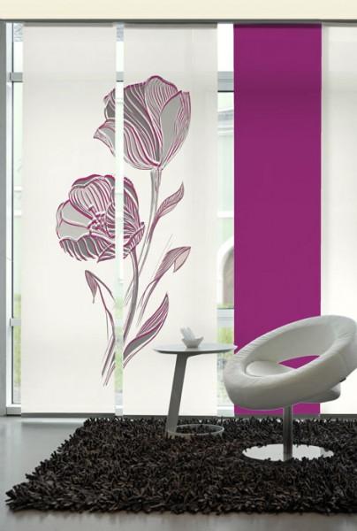Strichblume Orchideé Schiebegardinen 2-teiliges Set