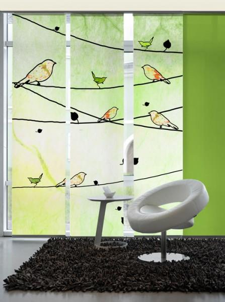 Crazy birds green Schiebevorhänge 3-teiliges Set