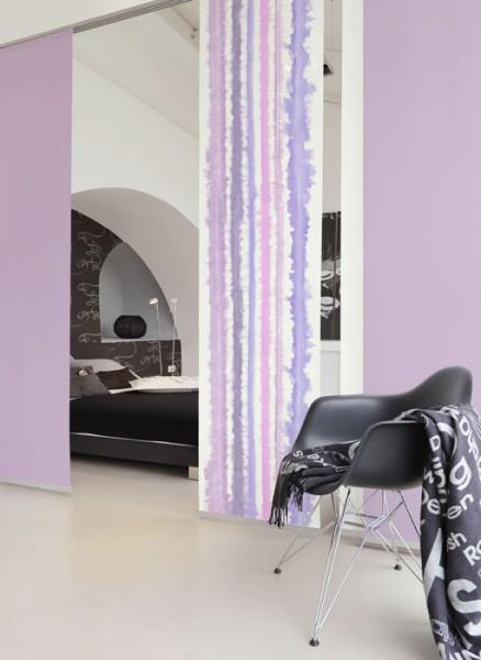 Aquarellstreifen Pastell lila Schiebevorhang 1-teilig