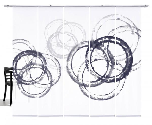 Aquarellkreise graublau Flächenvorhang 5-teiliges Set