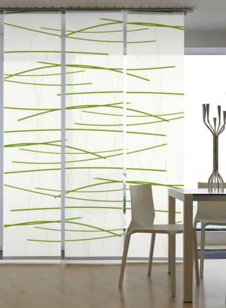 Querstreifen Grün Flächenvorhänge 3-teiliges Set