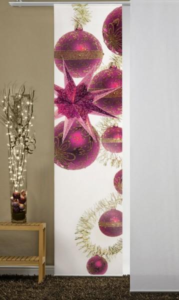 Weihnachten Glaskugeln Pink Flächenvorhang 1-teilig