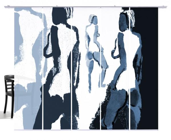 Silhouetten Akt taubenblau Schiebevorhang 5-teiliges Set